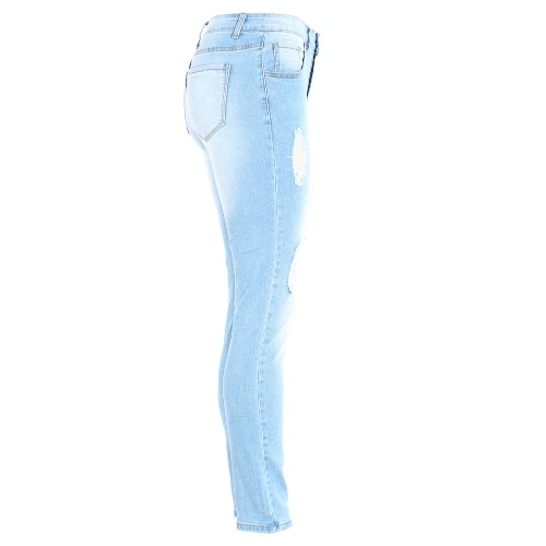 Fashion Women High Waist Ripped Jeans Destroyed Frayed Hole Zipper Fly Skinny Denim Pants Pencil Trousers Light BlueApparel &amp; Jewelry<br>Fashion Women High Waist Ripped Jeans Destroyed Frayed Hole Zipper Fly Skinny Denim Pants Pencil Trousers Light Blue<br>