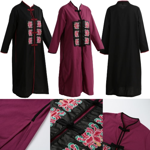 Women Long Cotton Linen Coat Embroidery Stand Collar Long Sleeves Frog Button Slit Hem Loose Maxi Outwear Black/BurgundyApparel &amp; Jewelry<br>Women Long Cotton Linen Coat Embroidery Stand Collar Long Sleeves Frog Button Slit Hem Loose Maxi Outwear Black/Burgundy<br>