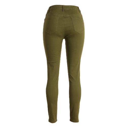 Fashion Women Skinny Jeans High Waist Stretchy Ripped Hole Pencil Pants Trousers Black/Burgundy/Army GreenApparel &amp; Jewelry<br>Fashion Women Skinny Jeans High Waist Stretchy Ripped Hole Pencil Pants Trousers Black/Burgundy/Army Green<br>