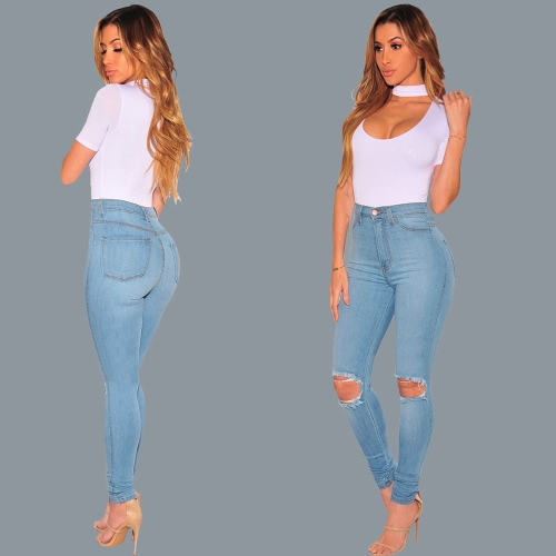 Women Washed Jeans Denim Destroyed Frayed Hole Zipper Pockets Pants Skinny Pencil Trousers Tights BlueApparel &amp; Jewelry<br>Women Washed Jeans Denim Destroyed Frayed Hole Zipper Pockets Pants Skinny Pencil Trousers Tights Blue<br>