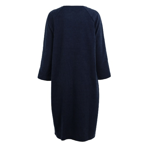 New Women Long Faux Woolen Coat Vintage V-Neck Long Sleeves Button Closure Pockets Loose Maxi OutwearApparel &amp; Jewelry<br>New Women Long Faux Woolen Coat Vintage V-Neck Long Sleeves Button Closure Pockets Loose Maxi Outwear<br>