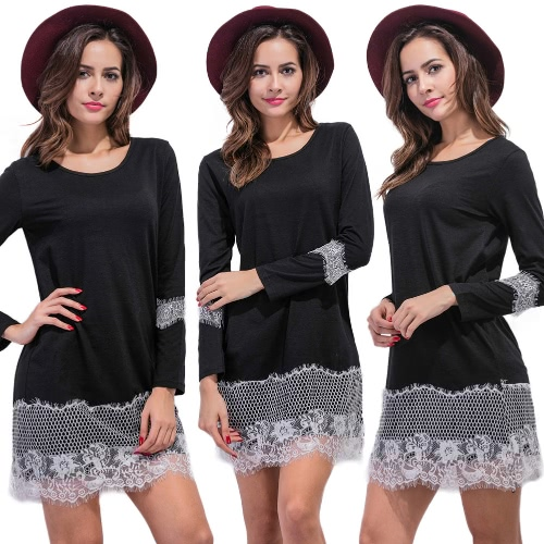 Women Lace Shift Dress Eyelash Lace O Neck Long Sleeves Straight Mini Shift Dress Black/Grey/WhiteApparel &amp; Jewelry<br>Women Lace Shift Dress Eyelash Lace O Neck Long Sleeves Straight Mini Shift Dress Black/Grey/White<br>