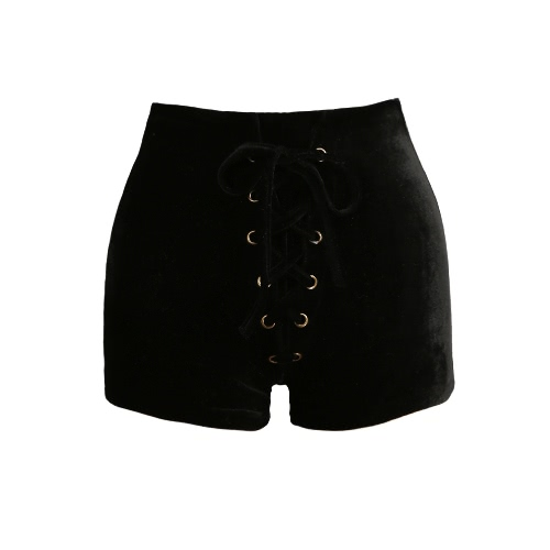 New Sexy Women High Waist Lace Up Velvet Shorts Bodycon Club Punk Hot Casual Shorts Pants Black/Burgundy/OrangeApparel &amp; Jewelry<br>New Sexy Women High Waist Lace Up Velvet Shorts Bodycon Club Punk Hot Casual Shorts Pants Black/Burgundy/Orange<br>