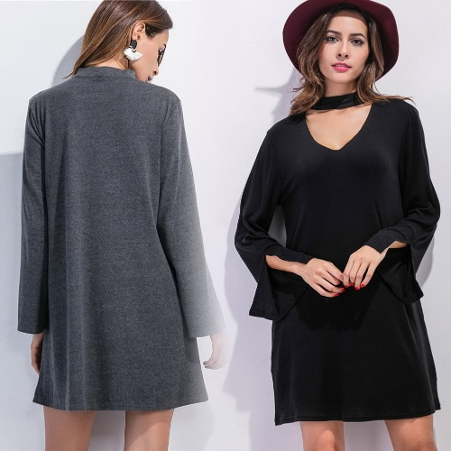 New Women  Mini Dress V Neck Choker Batwing Sleeves Slit Cuff Loose A-line Dress Black/GreyApparel &amp; Jewelry<br>New Women  Mini Dress V Neck Choker Batwing Sleeves Slit Cuff Loose A-line Dress Black/Grey<br>