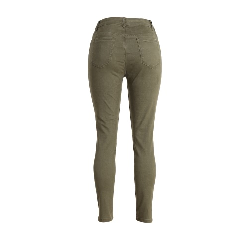 Women Washed Denim Jeans Ripped Hole Zipper Pockets High Waist Stretchy Skinny  Pencil Trousers Army GreenApparel &amp; Jewelry<br>Women Washed Denim Jeans Ripped Hole Zipper Pockets High Waist Stretchy Skinny  Pencil Trousers Army Green<br>
