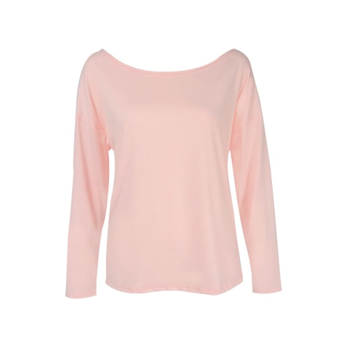 Women T-Shirt Solid Color Cross Back Hollow Out Round Neck Long Sleeve Casual Loose Plus Size TopsApparel &amp; Jewelry<br>Women T-Shirt Solid Color Cross Back Hollow Out Round Neck Long Sleeve Casual Loose Plus Size Tops<br>