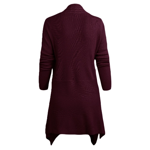 New Women Knitted Cardigan Solid Open Front PU Button Irregular Hem Long Sleeves Casual Outerwear CoatApparel &amp; Jewelry<br>New Women Knitted Cardigan Solid Open Front PU Button Irregular Hem Long Sleeves Casual Outerwear Coat<br>
