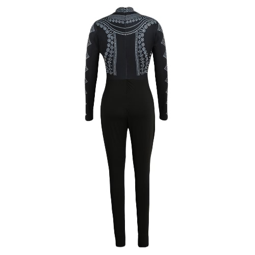 Sexy Women Bodycon Bodysuit Print Turtleneck Long Sleeve Tights Stretchy Jumpsuit RompersApparel &amp; Jewelry<br>Sexy Women Bodycon Bodysuit Print Turtleneck Long Sleeve Tights Stretchy Jumpsuit Rompers<br>