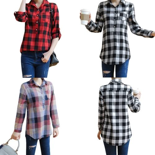Women Plus Size Shirt Plaid High-Low Hem Button Pocket Turn-Down Collar Casual Blouse Top Black/Red/BlueApparel &amp; Jewelry<br>Women Plus Size Shirt Plaid High-Low Hem Button Pocket Turn-Down Collar Casual Blouse Top Black/Red/Blue<br>