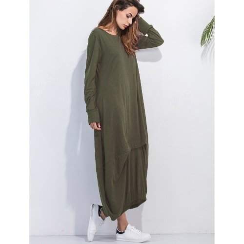 Women Plus Size Casual Maxi Dress Solid O-Neck Full Sleeve Ruffled Elasticated Hem Loose Long Pullover DressApparel &amp; Jewelry<br>Women Plus Size Casual Maxi Dress Solid O-Neck Full Sleeve Ruffled Elasticated Hem Loose Long Pullover Dress<br>