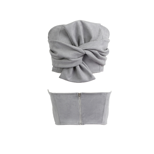 Women Suede Cropped Top Bow Front Slash Neck Sleeveless Back Zipper Crop Tube Tops Pink/Grey