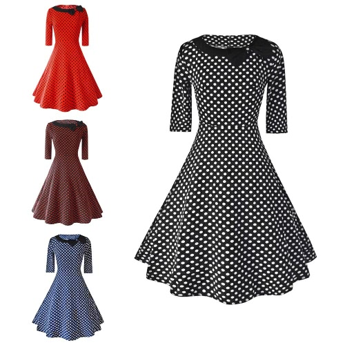 New Vintage Women Dress Polka Dot Bow Half Sleeves Round Neck Zipper High Waist Elegant A-Line DressApparel &amp; Jewelry<br>New Vintage Women Dress Polka Dot Bow Half Sleeves Round Neck Zipper High Waist Elegant A-Line Dress<br>