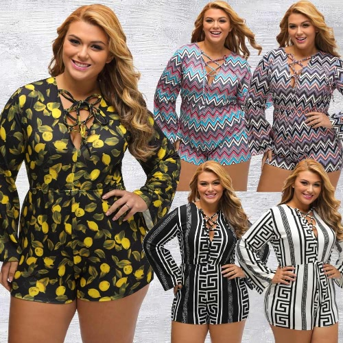 New Sexy Women Plus Size Printed Jumpsuit Deep V Lace-Up Long Sleeve High Waist Playsuit Rompers ShortsApparel &amp; Jewelry<br>New Sexy Women Plus Size Printed Jumpsuit Deep V Lace-Up Long Sleeve High Waist Playsuit Rompers Shorts<br>