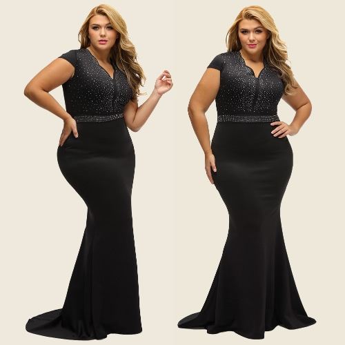 Women Plus Size Dress Rhinestone Scalloped V Neck High Waist Long Gown Big Size Elegant One-Piece BlackApparel &amp; Jewelry<br>Women Plus Size Dress Rhinestone Scalloped V Neck High Waist Long Gown Big Size Elegant One-Piece Black<br>