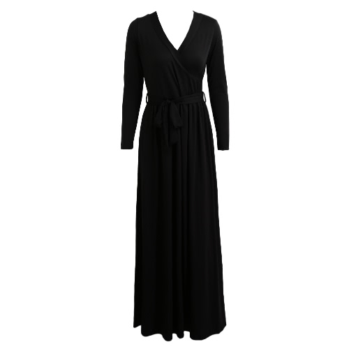 New Sexy Women Maxi Dress Plunging V Neck Long Sleeve Belted Solid Slim Dress Evening Party Long Dress BlackApparel &amp; Jewelry<br>New Sexy Women Maxi Dress Plunging V Neck Long Sleeve Belted Solid Slim Dress Evening Party Long Dress Black<br>