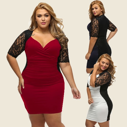 Women Mini Dress Plus Size Lace Ruched V Neck Half Sleeve Sexy Elegant Club Evening Party One-PieceApparel &amp; Jewelry<br>Women Mini Dress Plus Size Lace Ruched V Neck Half Sleeve Sexy Elegant Club Evening Party One-Piece<br>