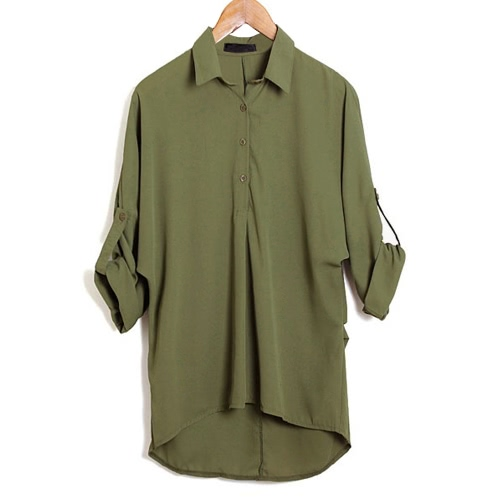 Spring Women Blouse Chiffon Shirt Long Sleeve Turn-down Collar Asymmetric Casual Loose Top Black/Green/WhiteApparel &amp; Jewelry<br>Spring Women Blouse Chiffon Shirt Long Sleeve Turn-down Collar Asymmetric Casual Loose Top Black/Green/White<br>