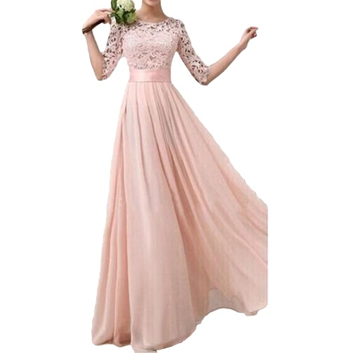 Women Dress Lace Chiffon Half Sleeve Slim Maxi Long Gown Elegant Princess Evening Party One-PieceApparel &amp; Jewelry<br>Women Dress Lace Chiffon Half Sleeve Slim Maxi Long Gown Elegant Princess Evening Party One-Piece<br>