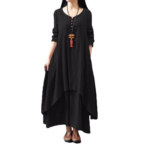New Fashion Women Casual Loose Dress Solid Long Sleeve Cotton Linen Boho Long Maxi DressApparel &amp; Jewelry<br>New Fashion Women Casual Loose Dress Solid Long Sleeve Cotton Linen Boho Long Maxi Dress<br>