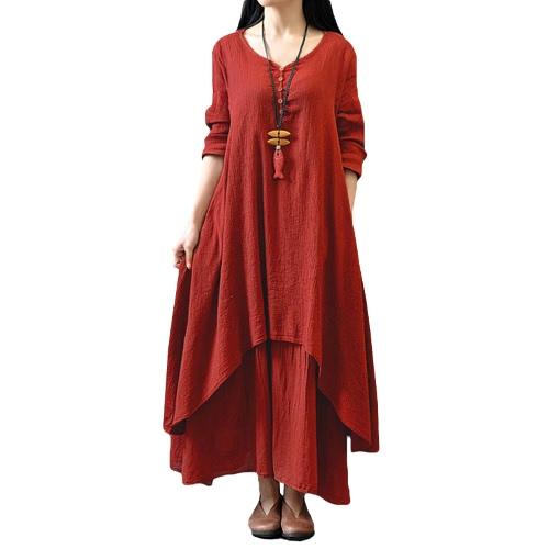 New Fashion Women Casual Loose Dress Solid Long Sleeve Cotton Linen Boho Long Maxi Dress
