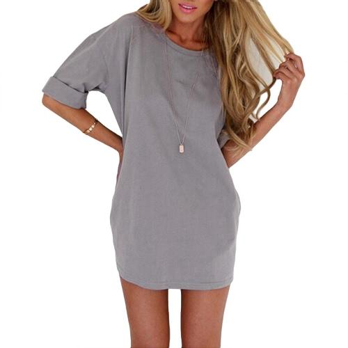 New Fashion Women Casual Loose Dress Solid Color Short Sleeve Ladies Mini Dress Grey/Black/Khaki