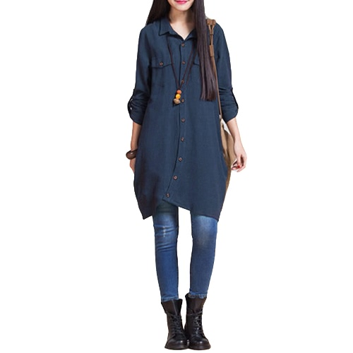 New Women Cotton Linen Long Blouse Irregular Hem Buttons Loose Casual Vintage Top Shirt Dress White/Purple/Dark Blue
