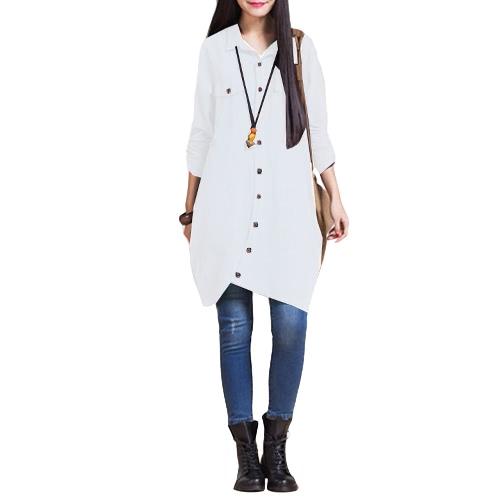 New Women Cotton Linen Long Blouse Irregular Hem Buttons Loose Casual Vintage Top Shirt Dress White/Purple/Dark BlueApparel &amp; Jewelry<br>New Women Cotton Linen Long Blouse Irregular Hem Buttons Loose Casual Vintage Top Shirt Dress White/Purple/Dark Blue<br>
