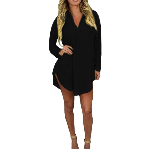 Fashion Women Spring Shirt Long Sleeve Turn-down Collar Asymmetric Solid Casual Loose Top BlouseApparel &amp; Jewelry<br>Fashion Women Spring Shirt Long Sleeve Turn-down Collar Asymmetric Solid Casual Loose Top Blouse<br>