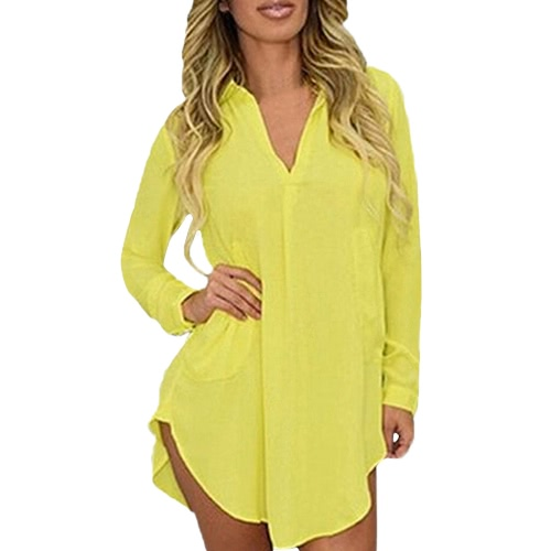 Fashion Women Spring Shirt Long Sleeve Turn-down Collar Asymmetric Solid Casual Loose Top BlouseApparel &amp; Jewelry<br>Fashion Women Spring Shirt Long Sleeve Turn-down Collar Asymmetric Solid Casual Loose Top Blouse<br>