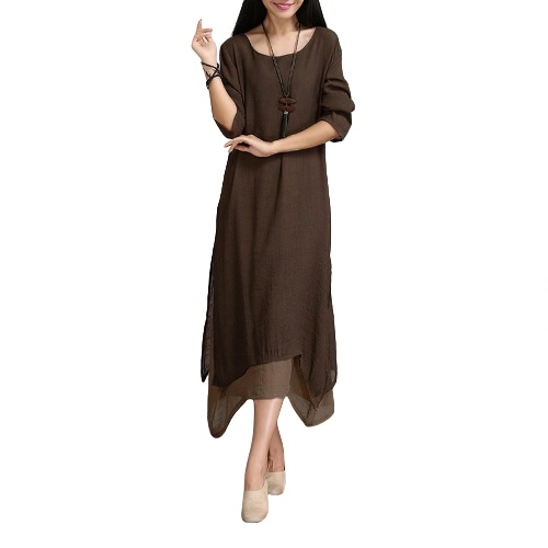 Women Cotton Linen Vintage Dress Contrast Double Layer Casual Loose Boho Long Plus Size Retro Maxi DressApparel &amp; Jewelry<br>Women Cotton Linen Vintage Dress Contrast Double Layer Casual Loose Boho Long Plus Size Retro Maxi Dress<br>