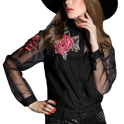 New Vintage Women Applique Blouse Floral Button Down Organza Splicing Long Sleeves Shirt Black/WhiteApparel &amp; Jewelry<br>New Vintage Women Applique Blouse Floral Button Down Organza Splicing Long Sleeves Shirt Black/White<br>