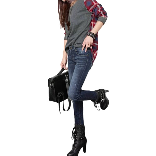Women Plus Size Shirt Plaid Long Sleeves High-Low Hem Round Neck Casual Blouse Top Black/GreyApparel &amp; Jewelry<br>Women Plus Size Shirt Plaid Long Sleeves High-Low Hem Round Neck Casual Blouse Top Black/Grey<br>