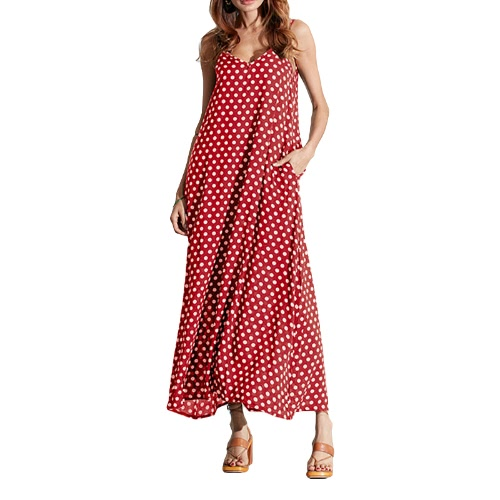 Women Dress Polka Dot Print V Neck Sleeveless Loose Maxi Long Beach Bohemian Vintage One-PieceApparel &amp; Jewelry<br>Women Dress Polka Dot Print V Neck Sleeveless Loose Maxi Long Beach Bohemian Vintage One-Piece<br>