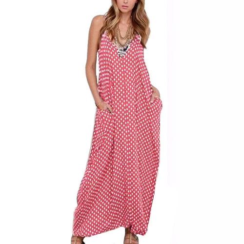 Women Dress Polka Dot Print V Neck Sleeveless Loose Maxi Long Beach Bohemian Vintage One-PieceApparel &amp; Jewelry<br>Women Dress Polka Dot Print V Neck Sleeveless Loose Maxi Long Beach Bohemian Vintage One-Piece<br>