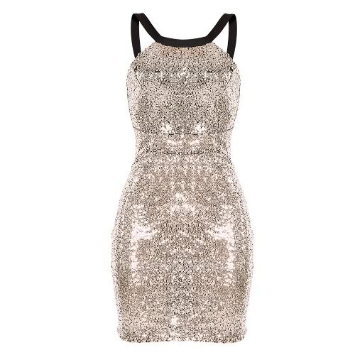 Sexy Women Sequined Dress Backless Round Neck Sleeveless Cocktail Party Evening Club Dress Gold/SilverApparel &amp; Jewelry<br>Sexy Women Sequined Dress Backless Round Neck Sleeveless Cocktail Party Evening Club Dress Gold/Silver<br>