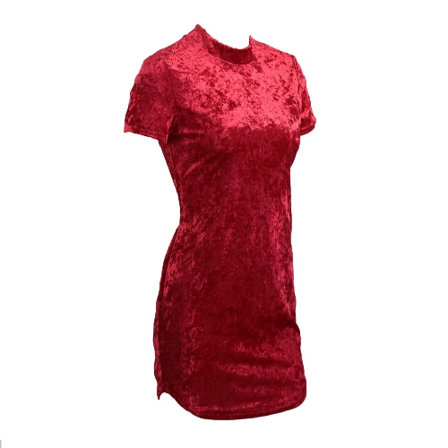 Women Mini Dress Velvet High Neck Rounded Hem Zipper Bodycon Pencil Night Club Party One-PieceApparel &amp; Jewelry<br>Women Mini Dress Velvet High Neck Rounded Hem Zipper Bodycon Pencil Night Club Party One-Piece<br>