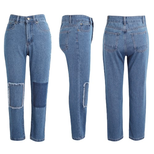 New Fashion Women Denim Jeans Patch Washed Boyfriend Mid Waist Cropped Slim Trousers Pants BlueApparel &amp; Jewelry<br>New Fashion Women Denim Jeans Patch Washed Boyfriend Mid Waist Cropped Slim Trousers Pants Blue<br>