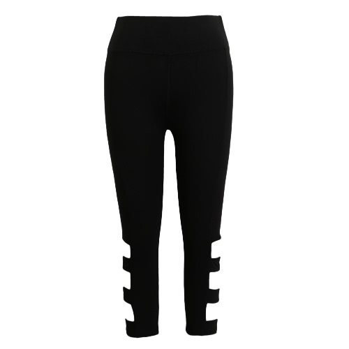 Women Leggings Cropped Cutout Pants High Waist Elastic Sports Workout Fitness Tights Trousers BlackApparel &amp; Jewelry<br>Women Leggings Cropped Cutout Pants High Waist Elastic Sports Workout Fitness Tights Trousers Black<br>
