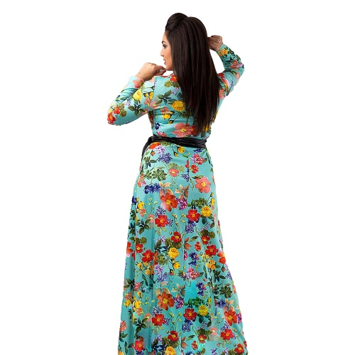 Women Plus Size Dress Flower Print O-Neck Long Sleeve Long Gown Elegant Evening Party One-Piece RobeApparel &amp; Jewelry<br>Women Plus Size Dress Flower Print O-Neck Long Sleeve Long Gown Elegant Evening Party One-Piece Robe<br>