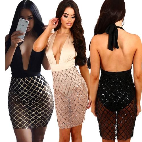 Fashion Women Dress Semi-Sheer Sequins Deep V-Neck Solid Color Sleeve Dress Beige/Black1/Black2Apparel &amp; Jewelry<br>Fashion Women Dress Semi-Sheer Sequins Deep V-Neck Solid Color Sleeve Dress Beige/Black1/Black2<br>