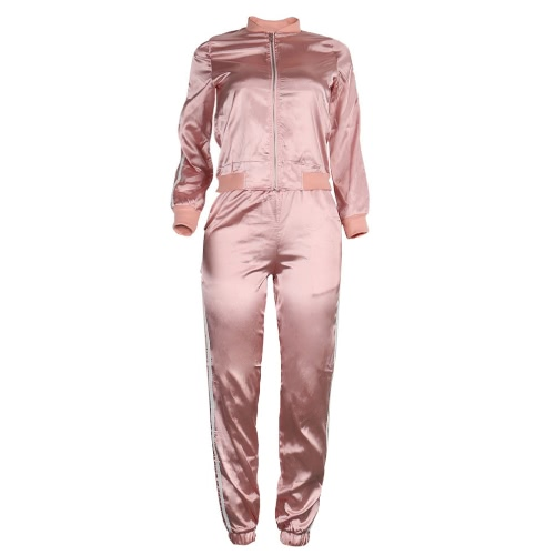 Women Two-Piece Set Blouse Pants Stripes Long Sleeves Zipper Elastic Waist Casual Sportswear Top Trousers Pink/Royal BlueApparel &amp; Jewelry<br>Women Two-Piece Set Blouse Pants Stripes Long Sleeves Zipper Elastic Waist Casual Sportswear Top Trousers Pink/Royal Blue<br>