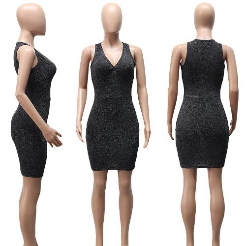 Sexy Women Mini Dress Bodycon Solid Sequins Deep V-neck Sleeveless Elegant Slim Party Club Dress BlackApparel &amp; Jewelry<br>Sexy Women Mini Dress Bodycon Solid Sequins Deep V-neck Sleeveless Elegant Slim Party Club Dress Black<br>