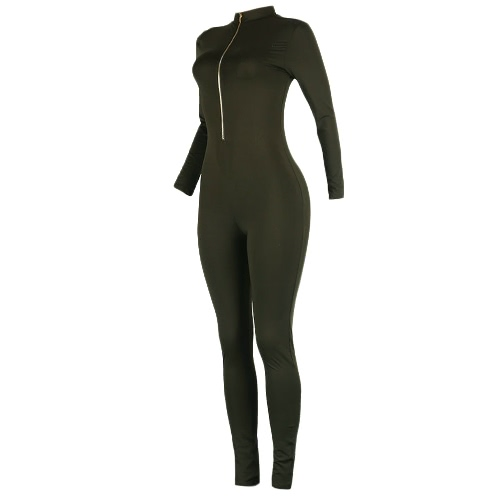 Sexy Women Bodycon Jumpsuit Solid Long Sleeves Zipper Casual Club Slim Playsuit Rompers Black/Burgundy/Army GreenApparel &amp; Jewelry<br>Sexy Women Bodycon Jumpsuit Solid Long Sleeves Zipper Casual Club Slim Playsuit Rompers Black/Burgundy/Army Green<br>