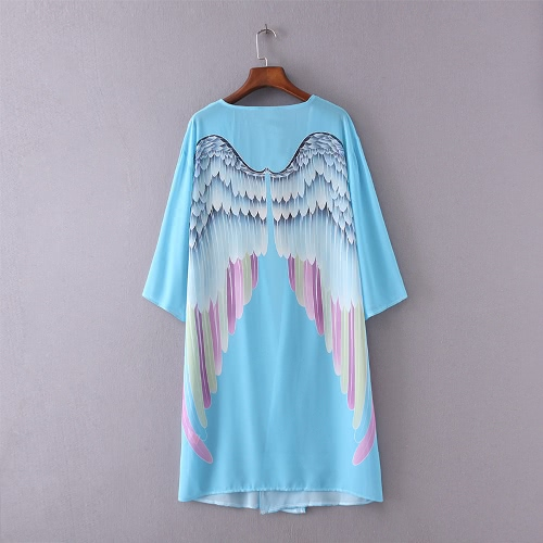 Women Kimono Angel Wing Print Open Front Three Quarter Sleeve Loose Long Casual Beach Cover Up Blouse Light BlueApparel &amp; Jewelry<br>Women Kimono Angel Wing Print Open Front Three Quarter Sleeve Loose Long Casual Beach Cover Up Blouse Light Blue<br>