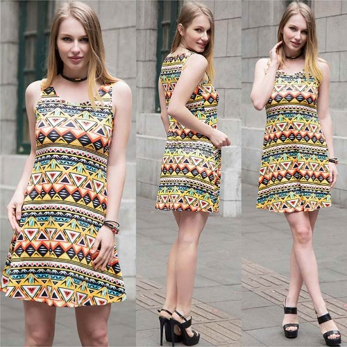 Sexy Women Mini Dress Geometric Floral Print Scoop Neck Sleeveless Colorful Skater Dress Yellow/Pink/BlueApparel &amp; Jewelry<br>Sexy Women Mini Dress Geometric Floral Print Scoop Neck Sleeveless Colorful Skater Dress Yellow/Pink/Blue<br>