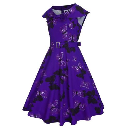 Fashion Women Retro Dress Vintage Butterfly Print Rockabilly Party Swing Dress Purple/Light Purple/GreenApparel &amp; Jewelry<br>Fashion Women Retro Dress Vintage Butterfly Print Rockabilly Party Swing Dress Purple/Light Purple/Green<br>