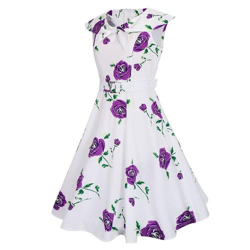 Fashion Women Retro Dress Vintage Rose Print Rockabilly Party Swing Dress Purple/Blue/RedApparel &amp; Jewelry<br>Fashion Women Retro Dress Vintage Rose Print Rockabilly Party Swing Dress Purple/Blue/Red<br>