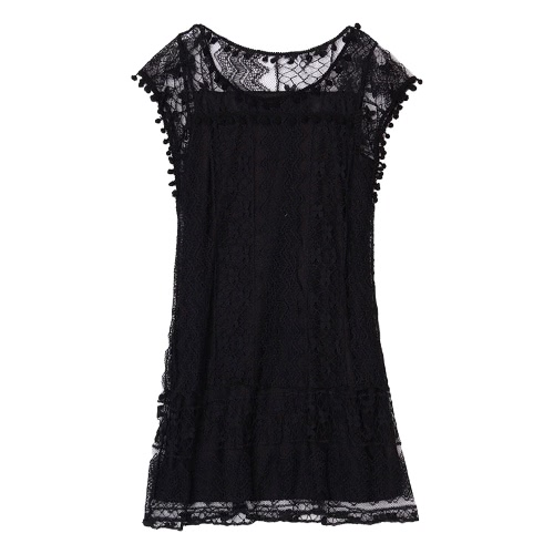 Summer Women Lace Dress Sleeveless O Neck Tassel Casual Mini Dress Straight Sundress Shift Dress White/BlackApparel &amp; Jewelry<br>Summer Women Lace Dress Sleeveless O Neck Tassel Casual Mini Dress Straight Sundress Shift Dress White/Black<br>