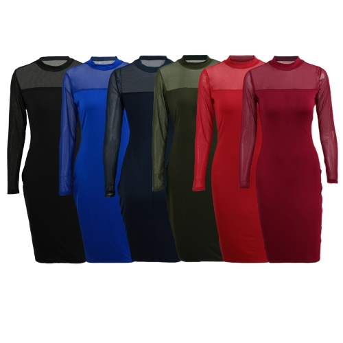 Sexy Women Dress Semi-sheer Splice Solid Color Stand Collar Long Sleeve Club Bodycon DressApparel &amp; Jewelry<br>Sexy Women Dress Semi-sheer Splice Solid Color Stand Collar Long Sleeve Club Bodycon Dress<br>