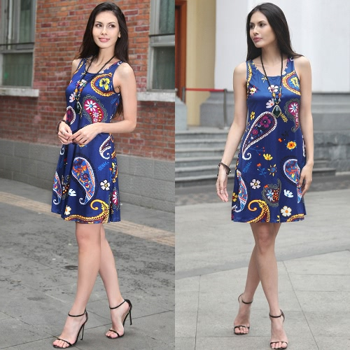 New Women Summer Mini Dress Vintage Floral Print Sleeveless Casual A-Line Dress Tank Dress Black/Blue/WhiteApparel &amp; Jewelry<br>New Women Summer Mini Dress Vintage Floral Print Sleeveless Casual A-Line Dress Tank Dress Black/Blue/White<br>